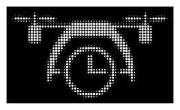 White Halftone Drone Clock Icon royalty free illustration