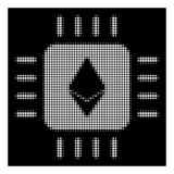White Halftone Ethereum Processor Chip Icon. Halftone pixelated Ethereum processor chip icon. White pictogram with pixelated geometric structure on a black royalty free illustration