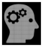 White Halftone Intellect Gears Icon. Halftone pixel intellect gears icon. White pictogram with pixel geometric pattern on a black background. Vector intellect stock illustration