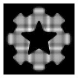 White Halftone Star Favorites Options Gear Icon. Halftone pixel star favorites options gear icon. White pictogram with pixel geometric pattern on a black royalty free illustration