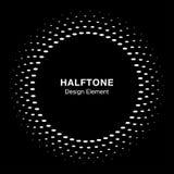 White halftone vector circle frame oval dots logo emblem on black background, Royalty Free Stock Photos