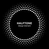 White halftone vector circle frame oval dots logo emblem on black background, Stock Images