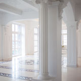 White hall with columns, the interior is beautiful Stock Image