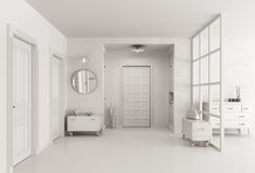 White hall interior 3d render Royalty Free Stock Photography