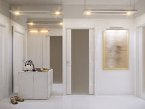 White hall interior design in modern style with white walls royalty free stock photos
