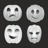 White halloween pumpkins. With black background Royalty Free Stock Photos