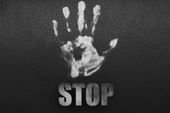 White hand on a black background. stock photos