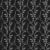 White hand drawn faces pattern on black background Stock Photo