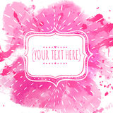 White hand drawn frame with doodle bird. Pink watercolor splash background. Artistic design concept for wedding invitations, roman. Hand drawn frame with doodle Royalty Free Stock Photo