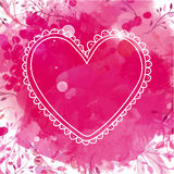 White hand drawn heart frame. Artistic pink watercolor splash background with leaves. Creative design concept for valentines day h Royalty Free Stock Photo