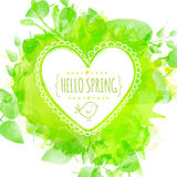 White hand drawn heart frame with doodle bird and text hello spring. Green watercolor splash background with leaves. Artistic vector illustration