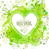 White hand drawn heart frame with doodle bird and text hello spring. Green watercolor splash background with leaves. Creative stock illustration