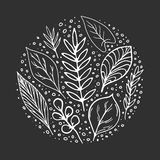 White hand-drawn leaves doodles set on chalk black board background vector illustration