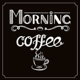 White Hand drawn lettering `Morning coffee` with charcoal effect and view of a cup of coffee on black background. Hand drawn lettering `Morning coffee` with Royalty Free Stock Photos