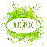White hand drawn ornate frame with doodle bird and template text hello spring. Green watercolor splash background. Creative design. Ornate frame with doodle bird Stock Photos