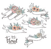 White hand drawn ribbons with peonys and roses. Royalty Free Stock Photos