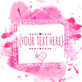 White hand drawn square frame with doodle bird. Pink watercolor splash background. Cute design concept for wedding invitations, gr Royalty Free Stock Photo