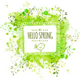 White hand drawn square frame with doodle bird and text hello spring. Green watercolor splash background with leaves. Artistic