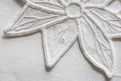 White hand embroidery. Close up view with details Royalty Free Stock Image
