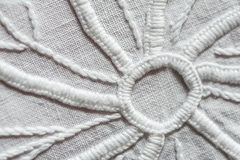 White hand embroidery. Close up view with details Royalty Free Stock Images