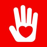 White hand with heart. Icon flat red hand with heart. Heart on palm. Symbol of love, safety concerns. Template for Valentine Day, Christmas, medicine and Royalty Free Stock Photos