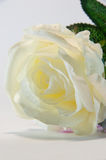 White Hand Made Fabric Rose Stock Photography