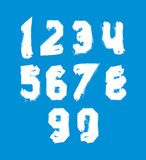 White hand painted daub numerals, acrylic digits Royalty Free Stock Image