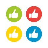 White hand silhouette with thumb up in the circle. Set of four icons in different colors.  Royalty Free Stock Photo