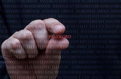 White hand stealing password, black background, ones and zeros. A hand is trying to pick a password from zeros and ones representing digital data royalty free stock photography