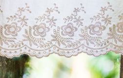 White handicraft curtain Royalty Free Stock Photos