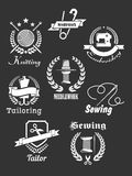 White handicraft icons on black Royalty Free Stock Images