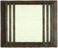 White handmade canvas metal barred frame isolated Stock Photography