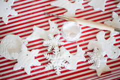 White handmade christmas decoration. Beauty white handmade christmas decoration Royalty Free Stock Photos