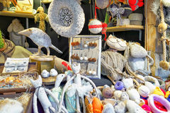 White handmade souvenirs on stall at Riga Christmas Market Stock Images