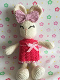 White handmade stuffed easter bunny with pink dress Royalty Free Stock Images