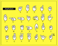 The white hands are doing alphabet sign language. stock photography