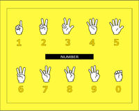 The white hands are doing number sign language. Stock Photo