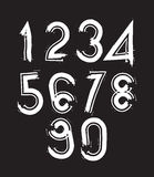 White handwritten numbers, vector doodle brushed figures, hand-p Stock Photography