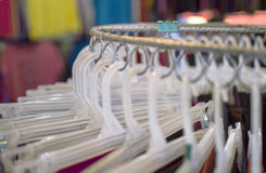 White hanger. Group of cloth white hanger Stock Photo