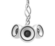 White hanging audio system isolated Stock Photography