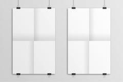 White hanging 3D illustration folded paper poster mockup. Royalty Free Stock Photo