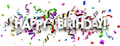 Happy birthday banner with colorful serpentine. White Happy birthday banner with colorful paper serpentine. Vector illustration Royalty Free Stock Image