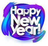 Happy new year festive background with blue brush strokes. White happy new year background with blue gradient brush strokes. Colorful gradient brush design stock illustration