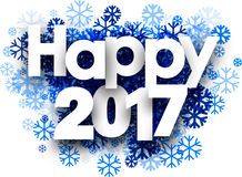 White happy 2017 winter background. White happy 2017 winter background with blue snowflakes. Vector illustration stock illustration