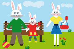 White hares family in the park. They are eating ice-cream. Father and daughter rabbits are sitting on the bench in the park, Mother is standing and holding a vector illustration