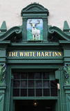 The White Hart Inn Pub in Edinburgh. EDINBURGH, SCOTLAND - MARCH 10TH 2016: A detail of the facade of The White Hart Inn public house on Grassmarket in Edinburgh royalty free stock photography