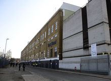 White Hart lane - Tottenham Hotspur Stadium. White Hart Lane's East Stand outside view pictured prior to the UEFA Europa League round of 16 game between Royalty Free Stock Photography