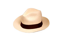 A white hat with brown strap Royalty Free Stock Images