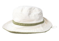 White hat. Lady on the isolated background Royalty Free Stock Photography