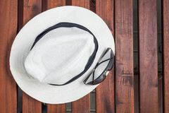 White hat top view green Stock Photography
